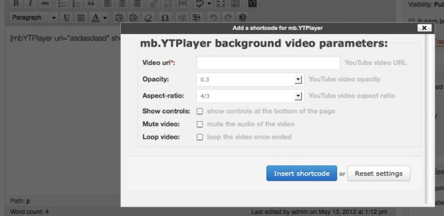 WordPress mb.YTPlayer Tiny plugin