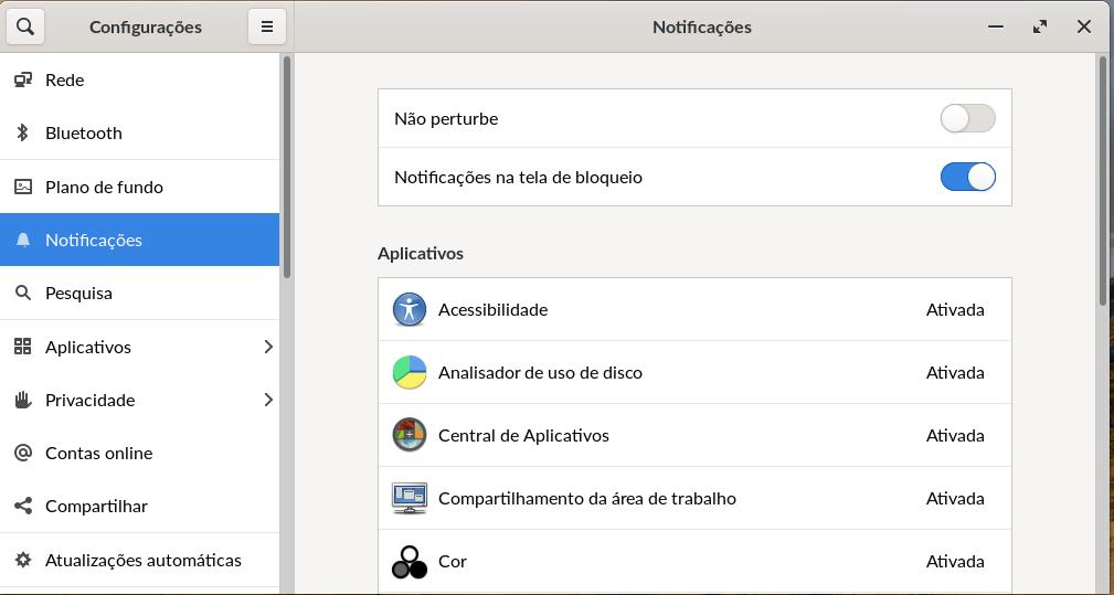 Controle de notificações do Endless OS