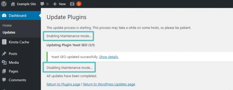 entrando no modo manutenção WordPress