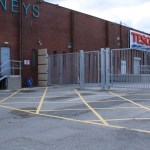 Mild steel galvanised gates at entrance to loading bay at the Cresent Shopping Centre Limerick
