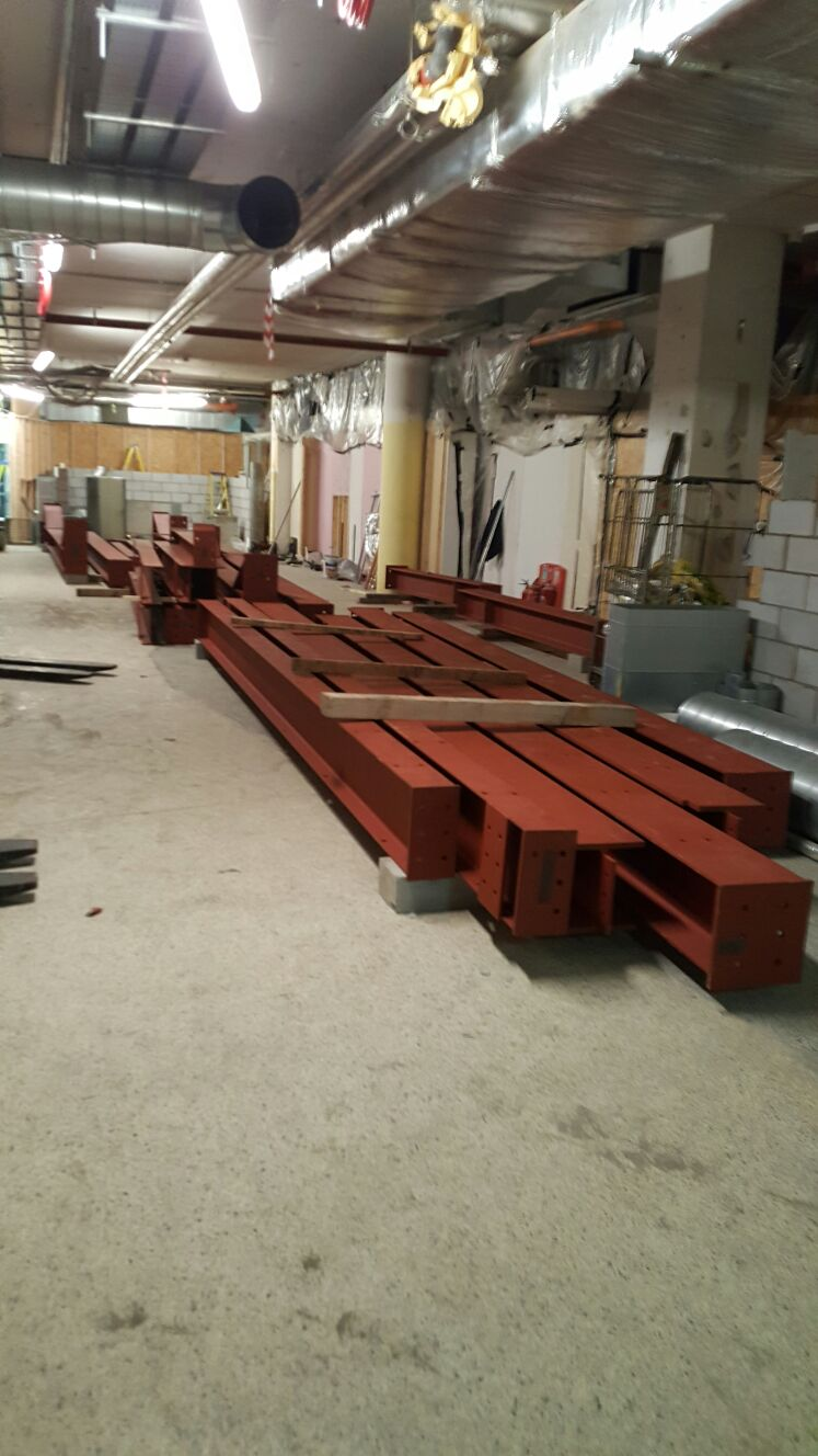 8 - Part of the steel load in position in the basement for installation