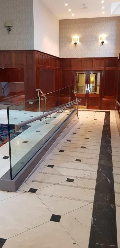 Reception area glass balustrade