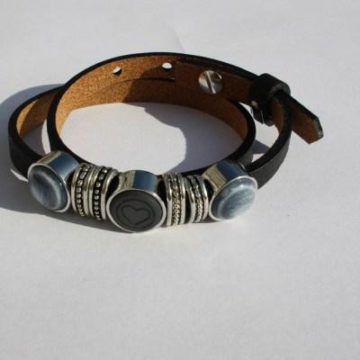 cuoio armband zwart blauw