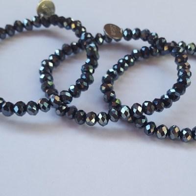 Setje van 3 - Sisa black top shine coating armbanden