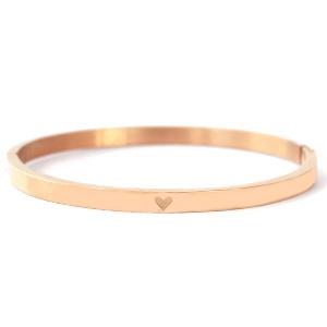 Armband stainless steel met hartje rose goud