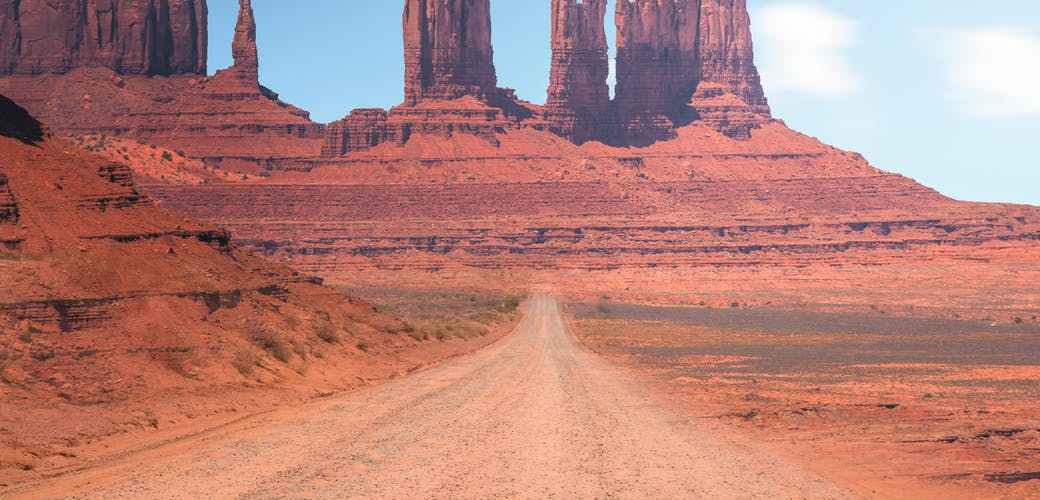 monument valley national park under blue and white sky