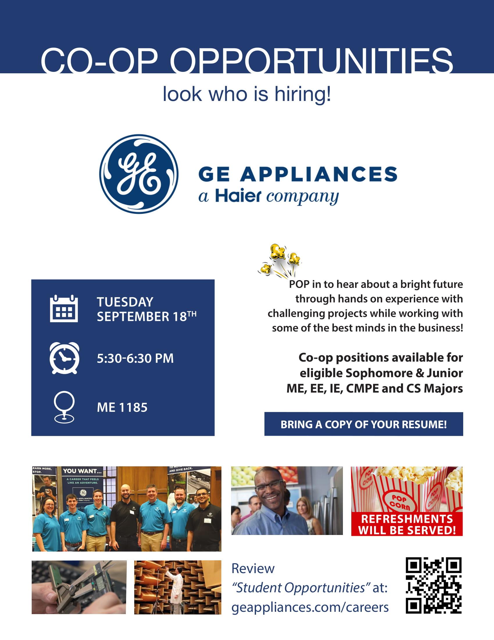 Co Op Internship >> Ge Appliances Co Op Opportunities Flyer 1 Undergraduate Blog
