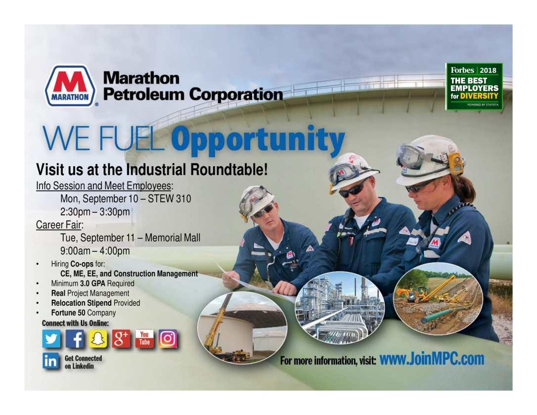 Marathon Petroleum - Purdue Recruiting Flyer - IR 2018-1