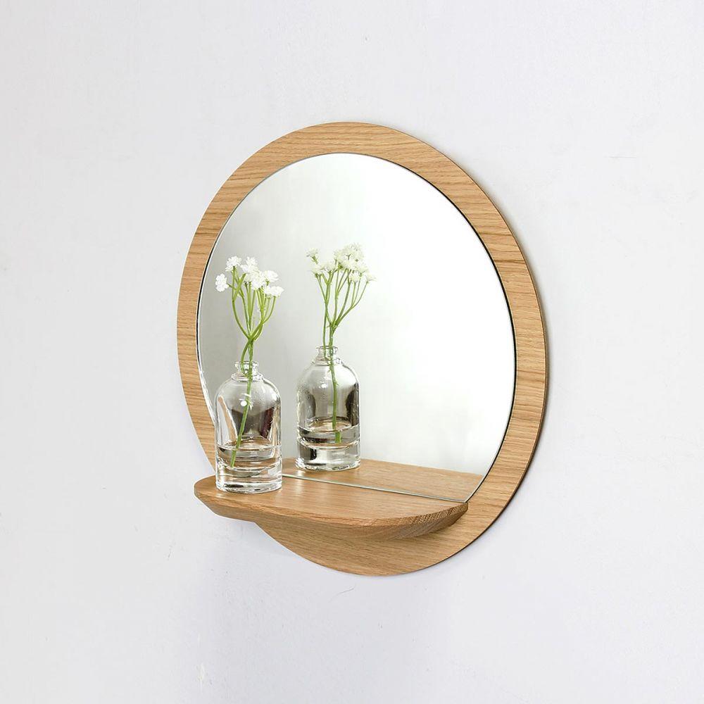 Miroir Rond Bois Avec Tablette Miroir Etagere Sunrise Reine Mere