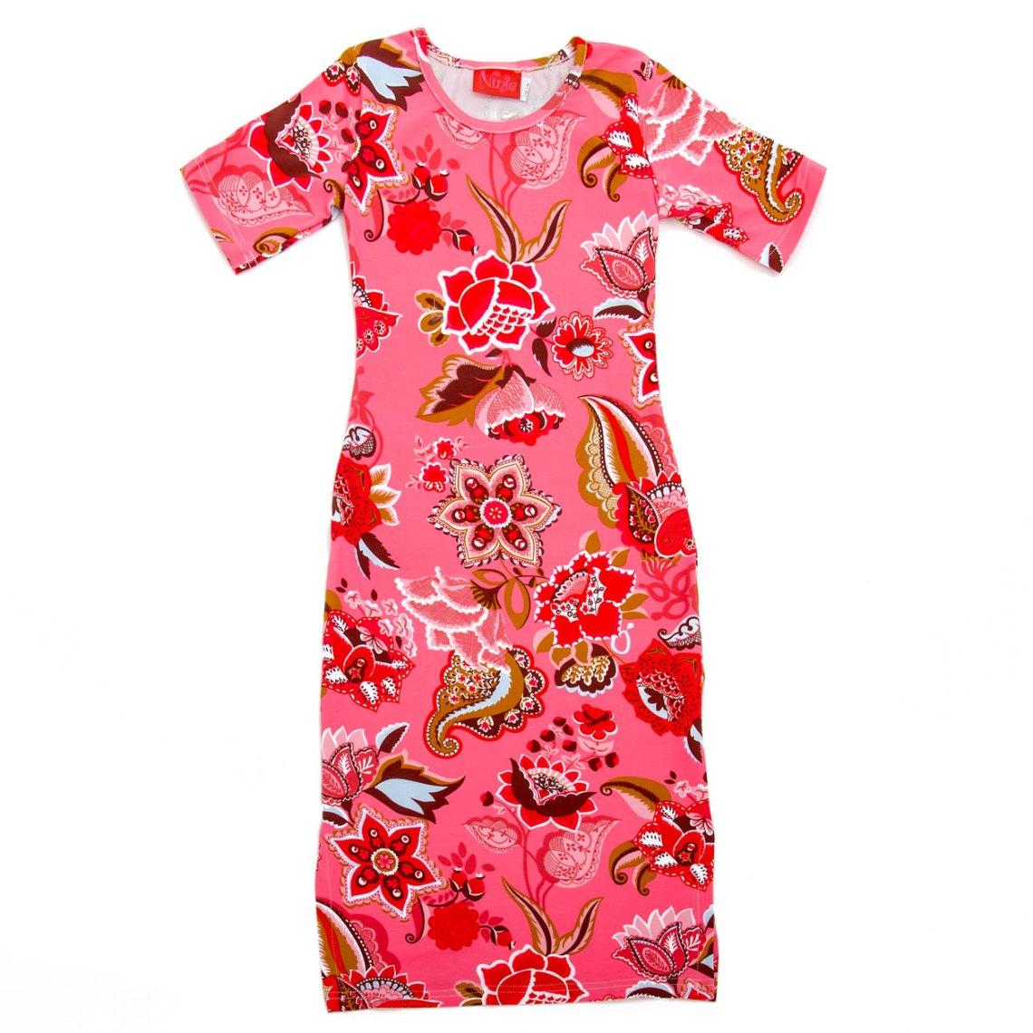 ninie maxi jurk roze bloem