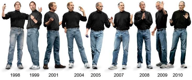 L'évolution (ou pas) du look de Steve Jobs au fil des années
