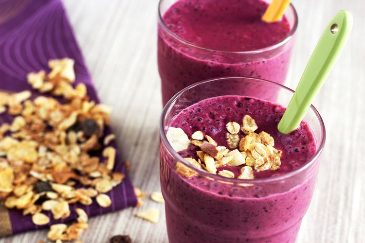 Ontbijt smoothie met bramen en kwark
