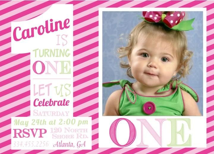 First Birthday E Invitations Pure Design Graphics