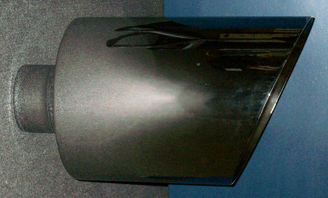 5 inch inlet 10 inch outlet 18 inch length weld on chrome exhaust tip