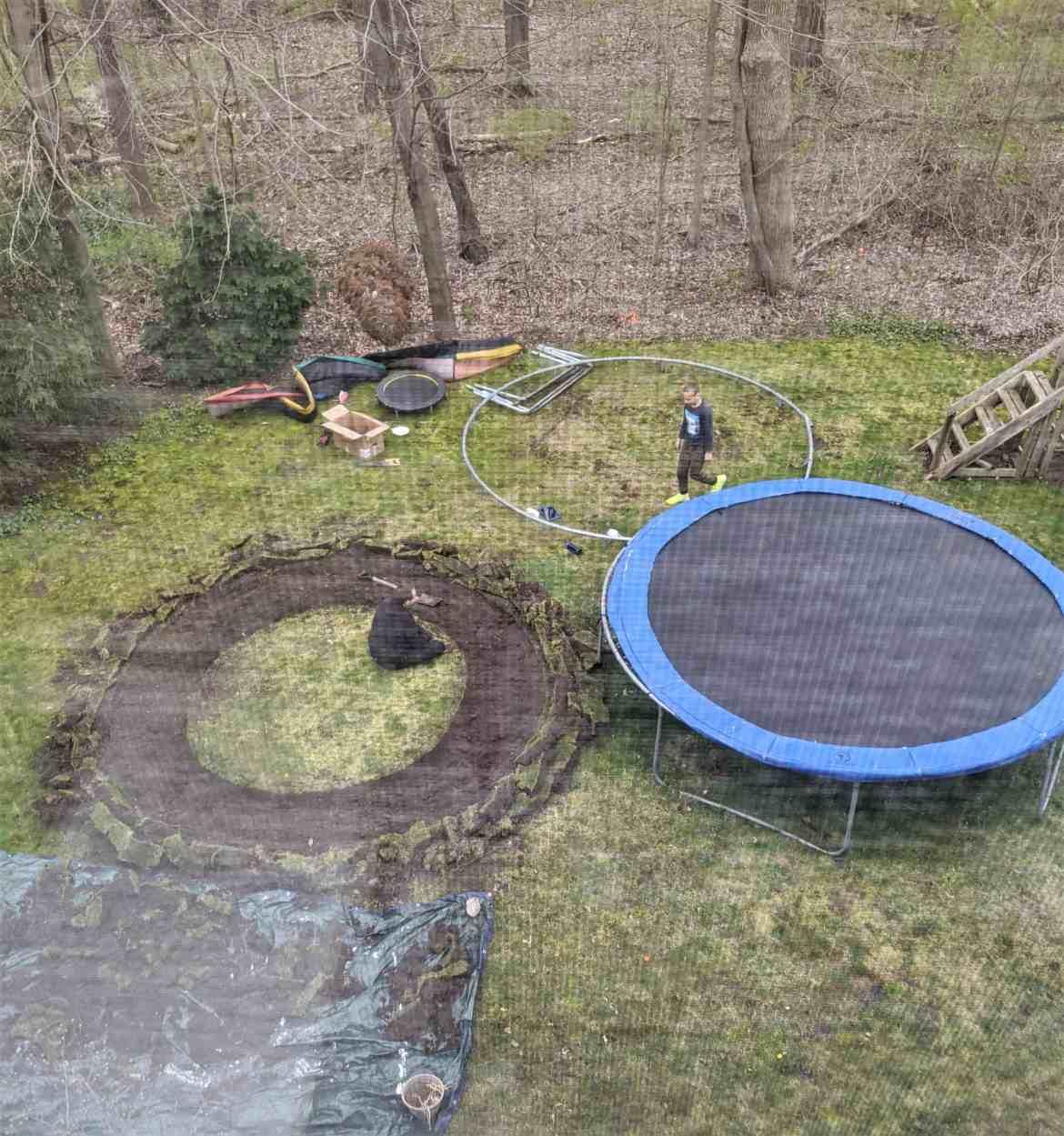 digging trampoline hole