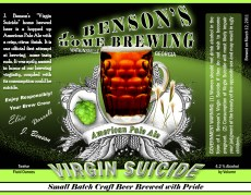 """This is the label I created to commemorate my first time ever home brewing. Hence the name """"Virgin Suicide""""."""