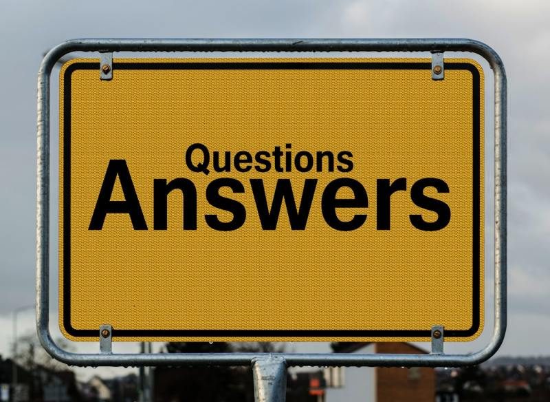 A questions and answers sign