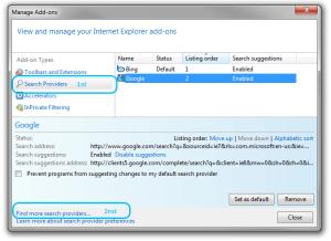 Add-Ons settings window on Internet Explorer 8