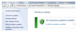 Windows Update settings page