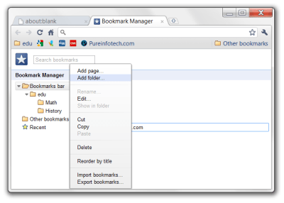 Creating a folder in the Bookmark manager of Google Chrome
