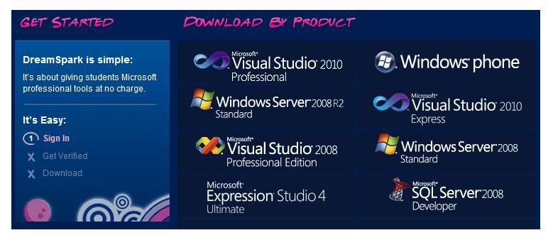 Free Microsoft software via DreamSpark program