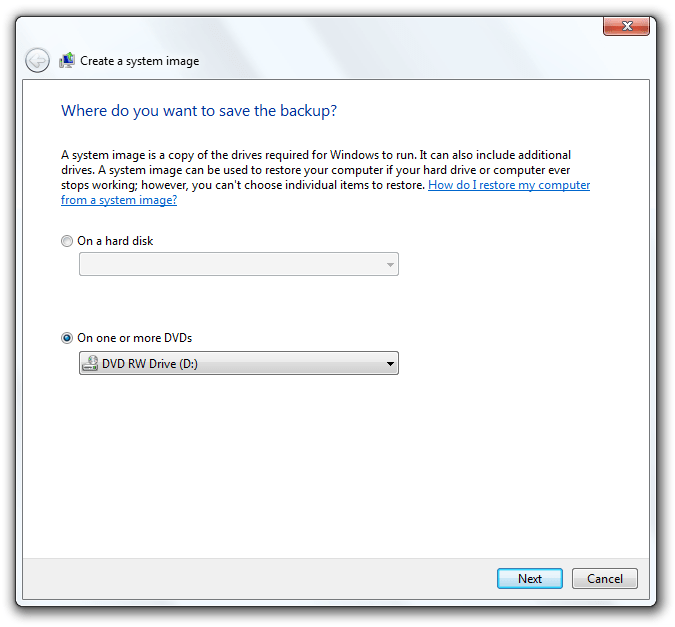Options of where to save the backup.