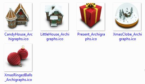 Windows icons, ico file format. Candy house icon, little house icon, present icon, christmas clobe icon, ringer balls icon