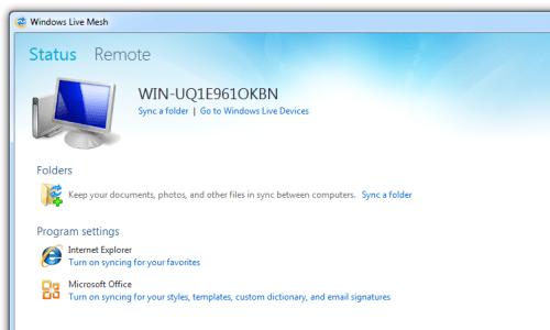 Windows Live Mesh main screen