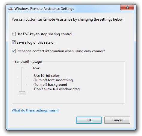 remote assistance - settings: ESC key to stop sharing control, save log of this session, exchange contact information when using easy connect, bandwidth usage