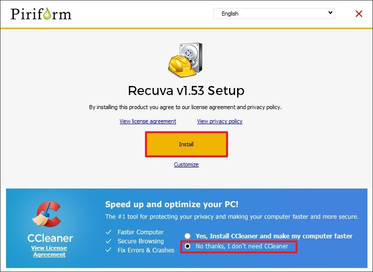 Install Recuva on Windows 10