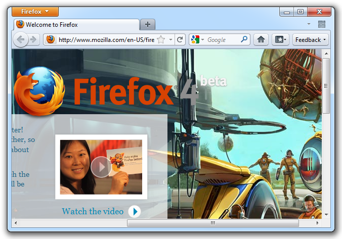 Firefox 4 Beta 9 - Welcome Page