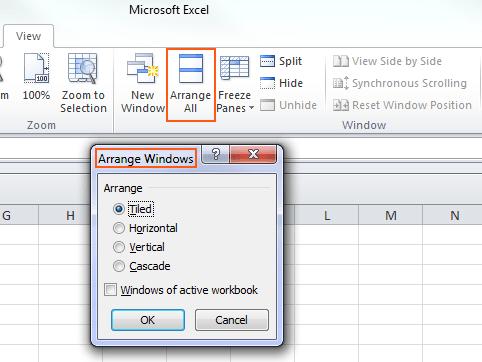 Microsoft Excel 2010 - Arrange All