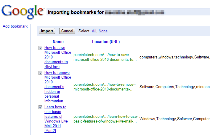 Delicious and Google Bookmarks: Bookmarks Import
