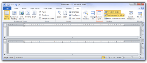 Microsoft Office 2010 - Split view