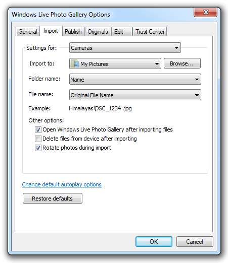 Windows Live Photo Gallery - Import
