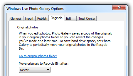 Windows Live Photo Gallery - Originals