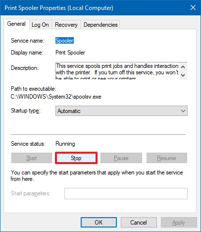 Stop Print Spooler on Windows 10