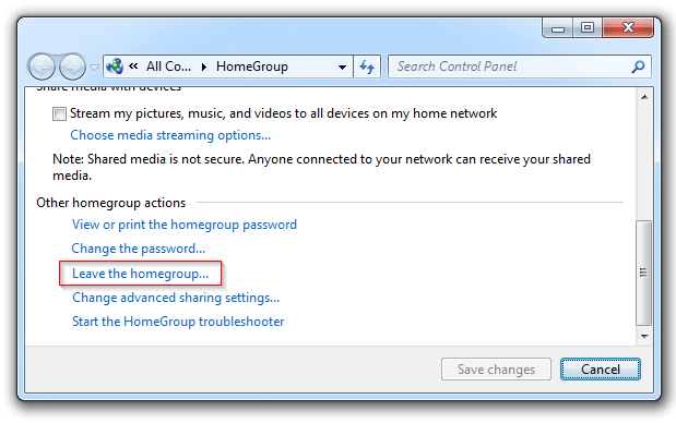 how to delete my homegroup windows 7