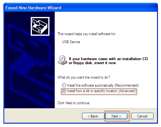 Windows XP - Hardware wizard what to do
