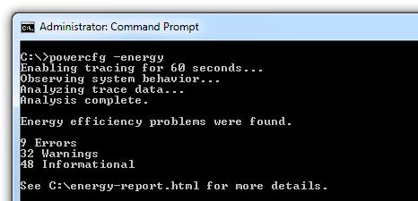 Windows 7 Command Prompt CMD - Powercfg -energy