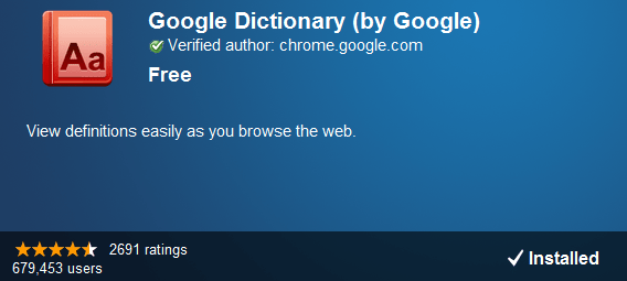 Google Dictionary extension for Google Chrome
