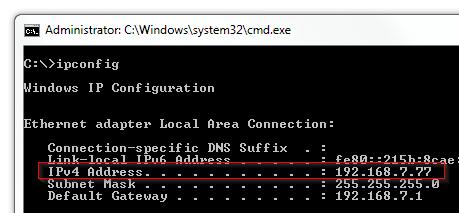 Windows - Command Prompt (CMD) ipconfig