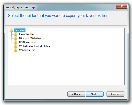 Internet Explorer - Export/Import choose a folder