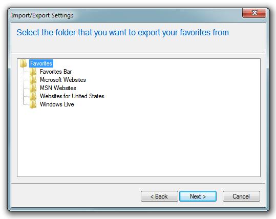 Internet Explorer - Export/Import choose a folder