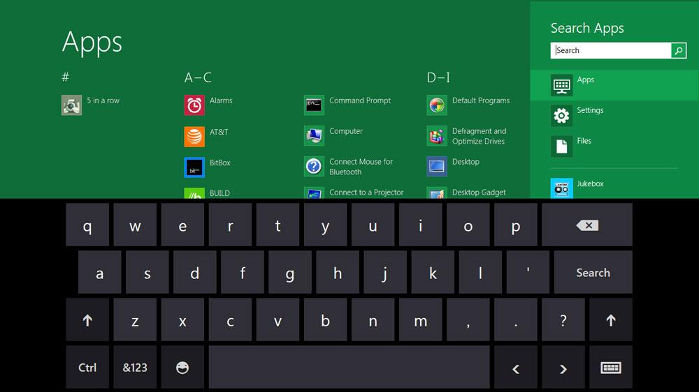 Windows 8 Startscreen App Search