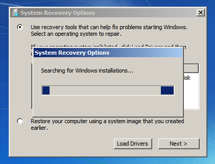 System Recovery Options - Searching for Windows installations