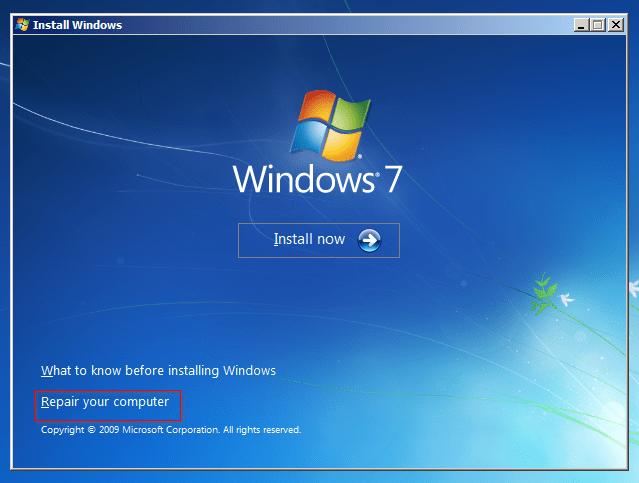 Windows 7 - Repair your computer