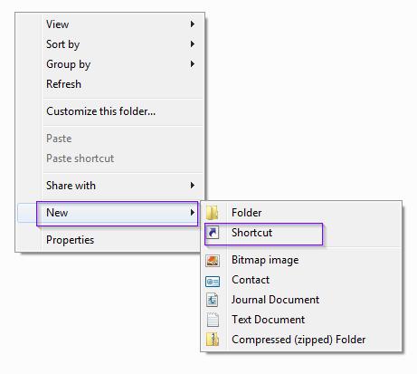 Creating shortcut in Windows 8