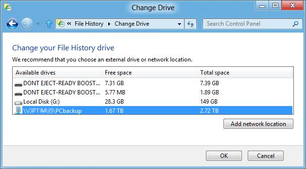 Add network location File History