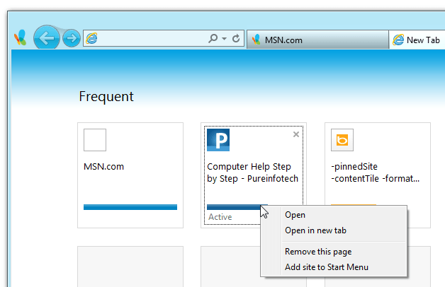 Add site to Start Menu - Windows 8